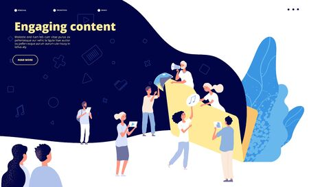 Content marketing. Blog writing, promotional article text creating strategy. Ad copywriter service landing page vector design. Illustration of engaging content video and audio file Vetores