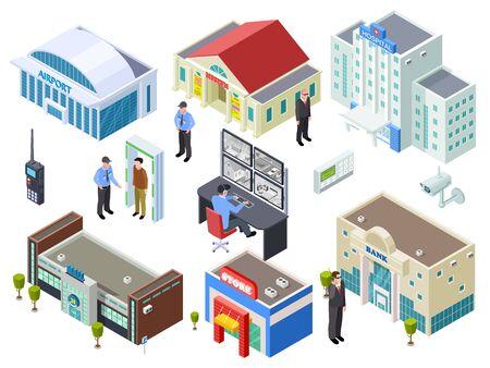 Sistema de seguridad para varios edificios públicos colección de vectores isométricos. Ilustración del edificio isométrico, banco y centro comercial, control exterior.