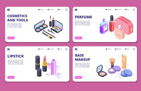 Isometric cosmetics banners vector template. Landing pages for cosmetics and perfume store. Illustration of beauty makeup, brush eyeshadow and accessory make-up