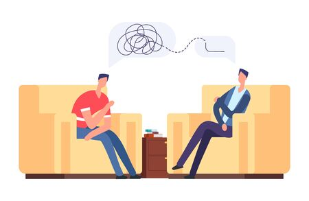 Psychotherapy session vector illustration. Frustrated man at psychologist, depression, mental disorder concept. Psychotherapy and psychology, psychologist listen to patient Stock Illustratie
