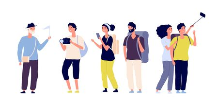 Tourists and tour guide. Young couples family, tourists travelling with camera taking photo in excursion. Summer vacation vector set. Tourist woman and man couple, travelling with guide illustration Stock Illustratie