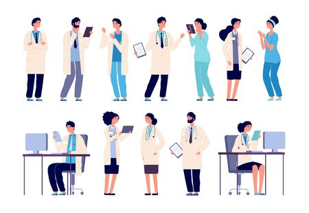 Doctor characters. Medical hospital staff people. Doctor nurse surgeon pharmacist dentist in medic uniform, flat vector set. Illustration of surgeon and pharmacist, medic professional and intern Иллюстрация