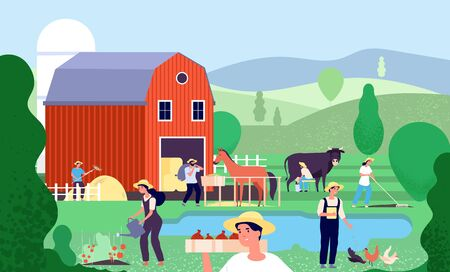 Cartoon farm with farmers. Agricultural workers work with farm animals and equipment in rural scene agriculture vector illustration landscape with pond and barn