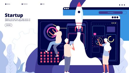 Startup landing. People successful launch spaceship rocket, start new business innovative project. Startup app vector concept. Illustration startup business, launch spaceship, teamwork project webpage