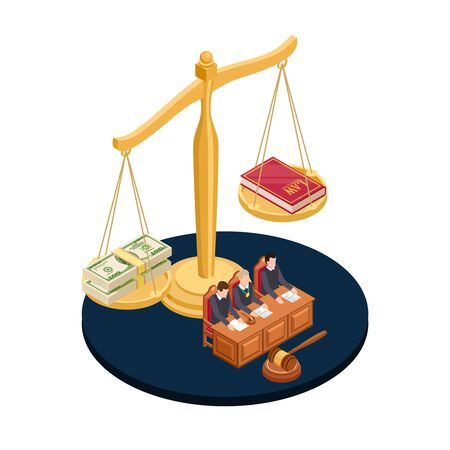 Money or law vector illustration. Corrupt practices isometric concept. Corruption or law, banknote money and book Standard-Bild - 128173761