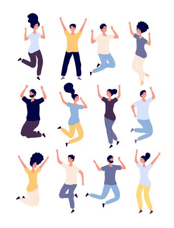 Jumping people set. happy smiling adults enjoy in jump celebrating event. healthy lifestyle Isolated vector cartoon characters. Young jump people, female and male smiling celebration illustration