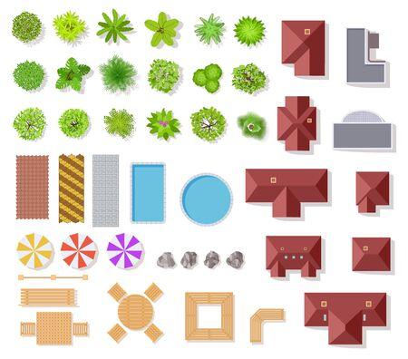 Elementi da giardino vista dall'alto. Case aeree, alberi verdi e cespugli, piscina e panchine per elementi vettoriali di piano architettonico paesaggistico insieme isolato