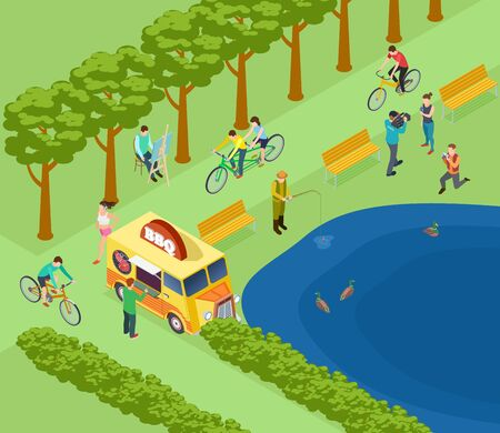 People relax in park, ride bicycle, photograph and fishing, eat and jogging. Isometric green park vector illustration concept