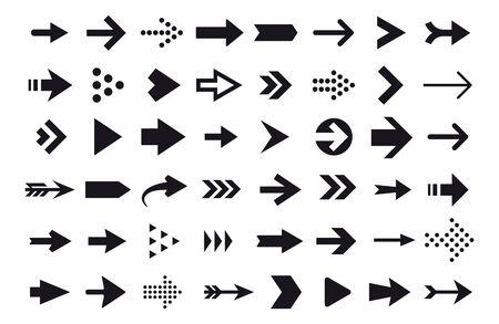 Arrow icons, vector arrow cursor isolated on white background. Direction arrow right, pointer navigation illustration Vektorové ilustrace