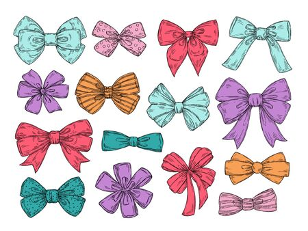 Color bows. Sketch fashion tie bow accessories hand drawn doodles tied ribbons. Retro isolated vector set. Illustration of tie bow, colored ribbon accessory to birthday and holiday Vetores