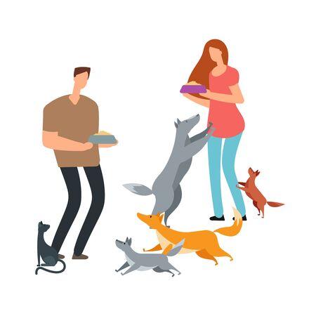 Voluntarios y perros sin hogar e ilustración de vector de gato. Adopción y ayuda a mascotas perro y gato.