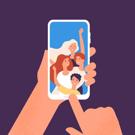 Phone with friends photo. Hands holding smartphone with happy smiling people portraits together. Taking friend selfie vector illustration concept