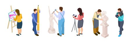 Isometric creative people vector. Artists, designer, videographer, sculptor isolated on white background. Sculptor work, people drawing, art hobby illustration