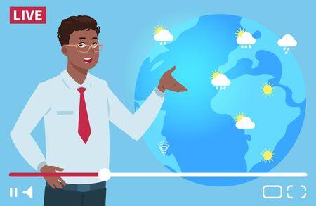Ilustración de vector de canal de clima de presentador de hombre. Concepto de pronóstico del tiempo en todo el mundo. Noticias meteorológicas, reportero de pronóstico sobre lluvia y sol