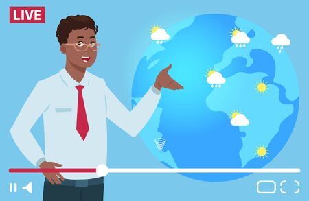 Man anchorman wheather channel vector illustration. Worldwide weather forecast concept. Weather news tv, forecast reporter about rain and sun