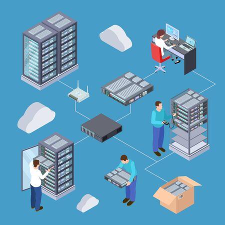 Information technology server engineer 3D vector concept. Isometric servers, cloud storage, computer equipment. Illustration of 3d isometric equipment, server storage database