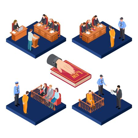 Isometric trials vector concept. 3D law illustration with prisoners, judge, jury. Prosecutor suspect man, juridical session