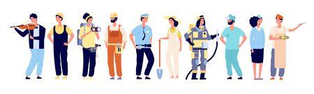 Diferentes profesionales. Policía y bombero, médico y azafata, artista y músico, constructor. Trabajadores personajes vectoriales. Ilustración del personaje bombero y médico, constructor y fotógrafo