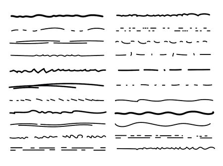 Hand drawn underlines. Drawing brush lines, pencil textured strokes. Scribble doodle borders. Handmade underline vector isolated set. Underline paint drawing, pen stripe drawn illustration