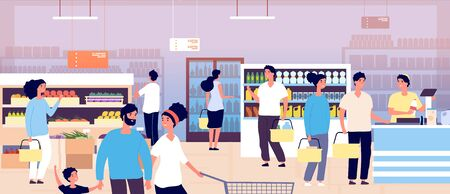 People in grocery store. Customers buying food in supermarket. Shopping customers choosing products. Consumerism vector concept. Interior of supermarket, buying food and drink illustration Illustration