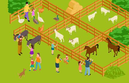Farm animals zoo. Isometric vector livestock and people characters. Happy family time with domestic animals and pets illustration