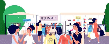 Flea market. Women shoppers choosing fashion clothes at bazaar. Garage street sale and secondhand shopping vector concept. Shopping outdoor bazaar illustration Banque d'images - 128173826
