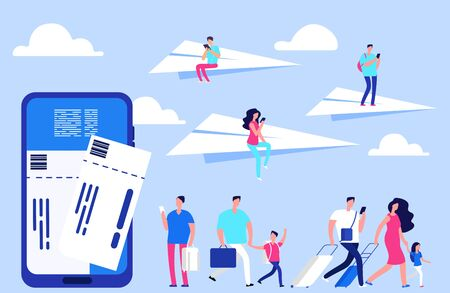 Vector online tickets concept. Travellers, smartphone with tickets, paper planes illustration. Smartphone online app for booking airplane flight