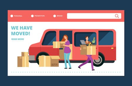 Moving house vector web banner. We have moved landing page template. Move and relocate, delivery service transfer moving illustration