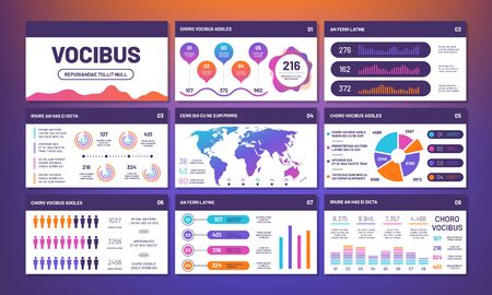Modern infographics presentation template vector. Info charts, pies, comparative graphs. Statistic and infochart rate, website infographic illustration