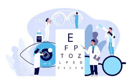 Konzept der Augenheilkunde. Augenarzt überprüft das Sehvermögen des Patienten. Optischer Sehtest, Brillentechnik. Vektor gute Sicht Hintergrund. Augenheilkunde, optische Sehprüfung Abbildung