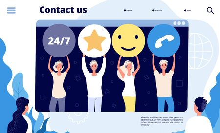 Customer support landing. Call center customers retention professionals help client, digital shop sales. App vector concept. Illustration of support call service center, customer help online Illusztráció