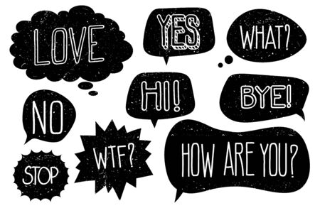 Grunge speech bubbles with hand drawn text vector set. Illustration of bubble with text, dialog speech message