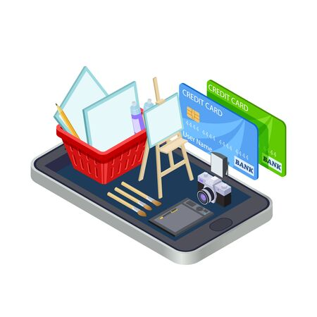 Artistic tools online store vector concept isolated. Illustration of shop online for artist, paint tool drawing