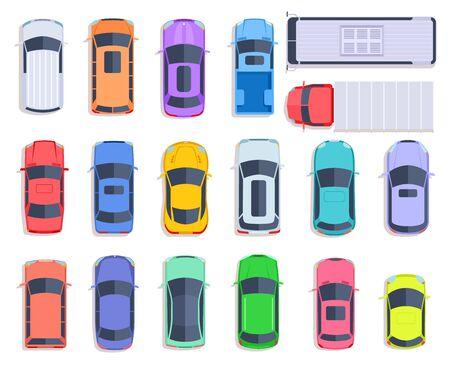 Autos mit Draufsicht. Autotransport, LKW- und Autodach des Fahrzeugtransports. Stadtverkehr, Autotransport flacher Vektorsatz. Auto-LKW und -Fahrzeug, Auto-Auto oben Abbildung