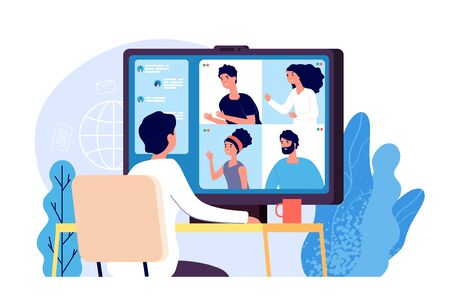 Video conference. People group on computer screen taking with colleague. Video conferencing and online communication vector concept. Illustration of communication screen conference, videoconferencing  イラスト・ベクター素材