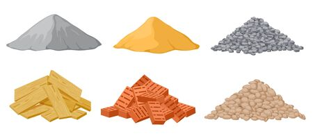 Pilas de material de construcción. Yeso y arena, triturado y piedras, ladrillos rojos y montones de tablones de madera aislados conjunto de vectores. Madera contrachapada industrial, panel y pila de ladrillos y arena ilustración