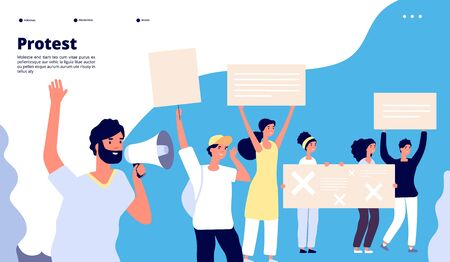Protest landing. Human rights, people with placards, protesting activists with loudspeakers. Working strike vector web page. Illustration of web page, activist with placard, right protesting