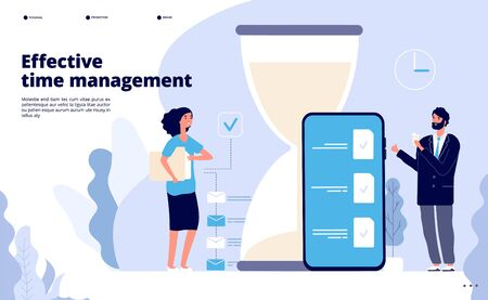 Time management landing. Effective business planning, successful teamwork solution. Calendar, perfect scheduling app vector web page. Illustration business planning, effective productive, optimization