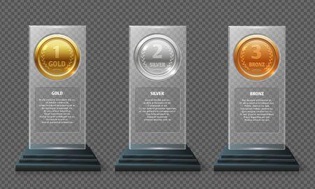Gold-, Silber- und Bronzemedaillen-Trophäe. Realistische Kristallvektorpreise lokalisiert auf transparentem Hintergrund. Sport vergibt Medaillen in Glasillustration Vektorgrafik