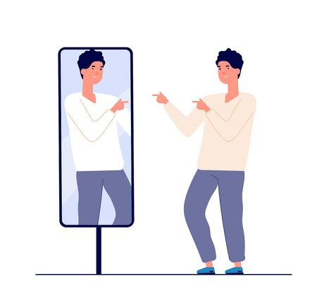 Man at mirror. guy self looking reflection, love of self. narcissism and vanity. egotism mirrored vector concept. Illustration of look selfishness, narcissistic and admiring