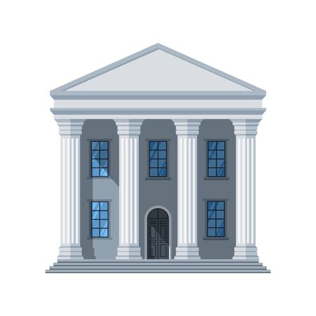 Vector flat public building icon. Administrative city building isolated on white background. Illustration of government architecture house design, exterior city hall Banque d'images - 127869085