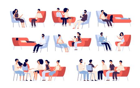 Group therapy. People crowd consulting with psychologist, persons talking to psychotherapist. Family psychoanalysis vector characters. Illustratration of psychotherapy problem, psychotherapist