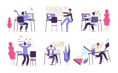 Menschen unorganisiert. Männer scheitern geplante Aufgabeneffizienz Produktivität Zeitmanagement Vektorkonzept. Illustration der Ausfallproduktivität, Bürogeschäftsmann scheitern