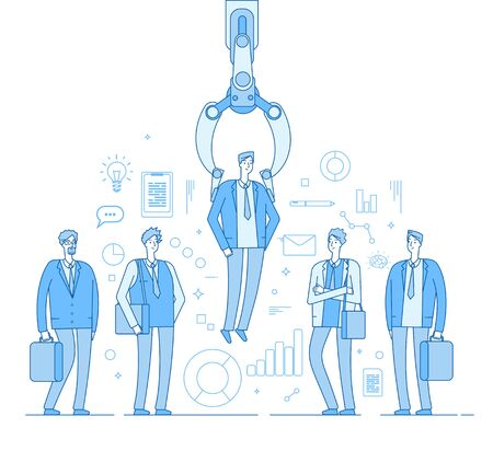 Robot recruiter. Industrial claw choosing man from people selected group. Recruitment human employment agency vector business concept. Robot professional research employee, hr select illustration
