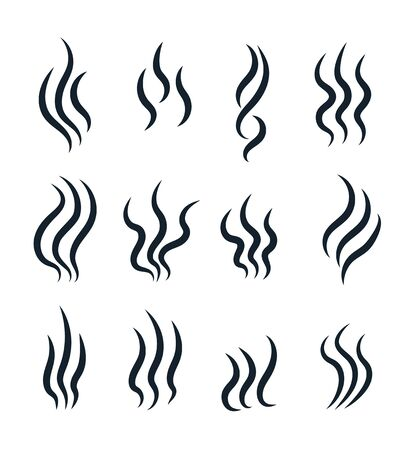 Smell icons. Flowing heat, cooking steam warm aroma smells stinks mark, steaming vapour odour vector isolated line symbols. Smell fume, scent line odor illustration Vektoros illusztráció