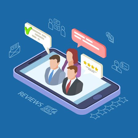 Feedback reviews isometric vector illustration. Online feedback concept with phone, people, speech bubbles. Feedback review online, customer make rating Vektoros illusztráció