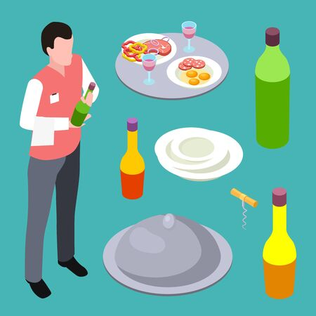 Sommelier or waiter and cafe equipments isometric vector collection. Illustration of sommelier with wine bottle, drink degustation