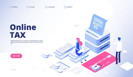 Tax payment landing page. Online tax vector web banner template. Payment electronic tax service illustration, electronic billing Ilustração