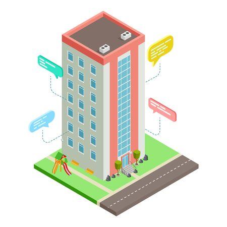 Communication between neighbors, neighborhood social network vector isometric concept. Illustration of neighborhood communication, neighbor people