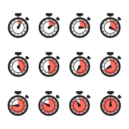 Timer icons vector. Stopwatch set isolated on white background. Illustration of timer and stopwatch, time clock countdown